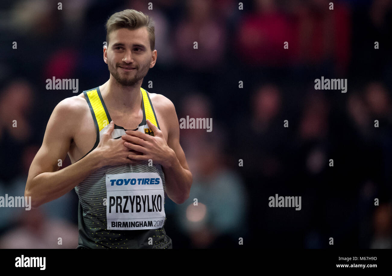 01 March 2018, Great Britain, Birmingham: IAAF World Indoor Championships in Athletics: Mateusz Przybylko of Germany - Stock Image