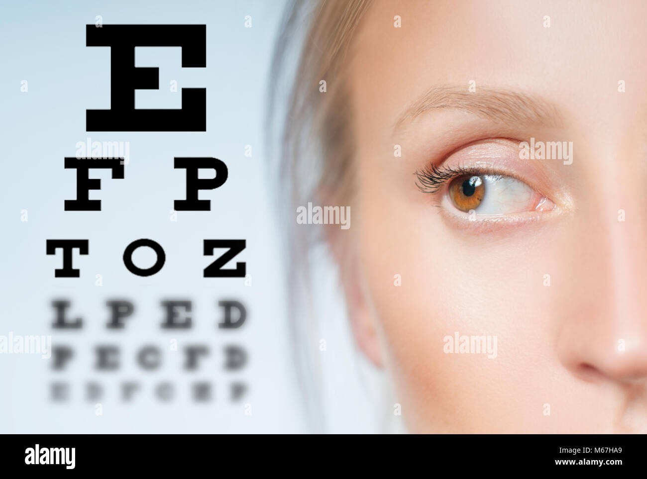 Eye test board stock photos eye test board stock images alamy close up image of an eye and vision test chart stock image geenschuldenfo Gallery