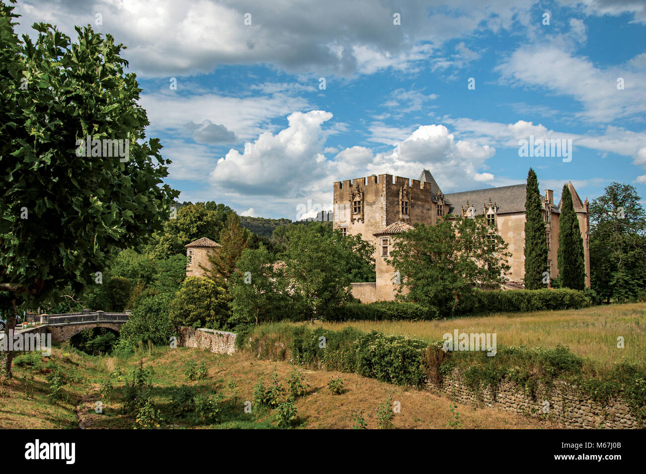 Panoramic view of Allemagne-en-Provence Castle, near the village of the same name. Located in the Provence region, - Stock Image