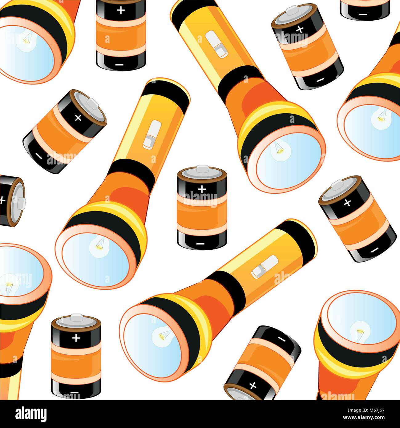 Flash-light and battery pattern - Stock Vector