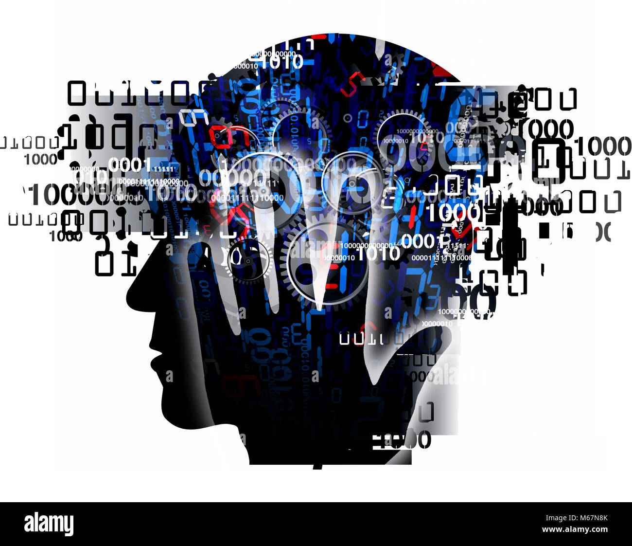 Burn out syndrome,Stress Overworked man. Stylized male head silhouette holding his head, with binary codes and gear. - Stock Image