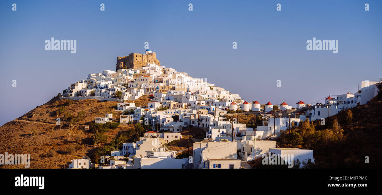 Chora of Astypapaia island ,Greece at daytime with the white houses that encircle the castle - Stock Image