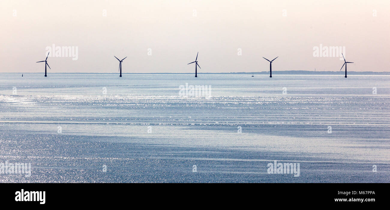 wind farm off danish/swedish coast in Baltic sea. - Stock Image