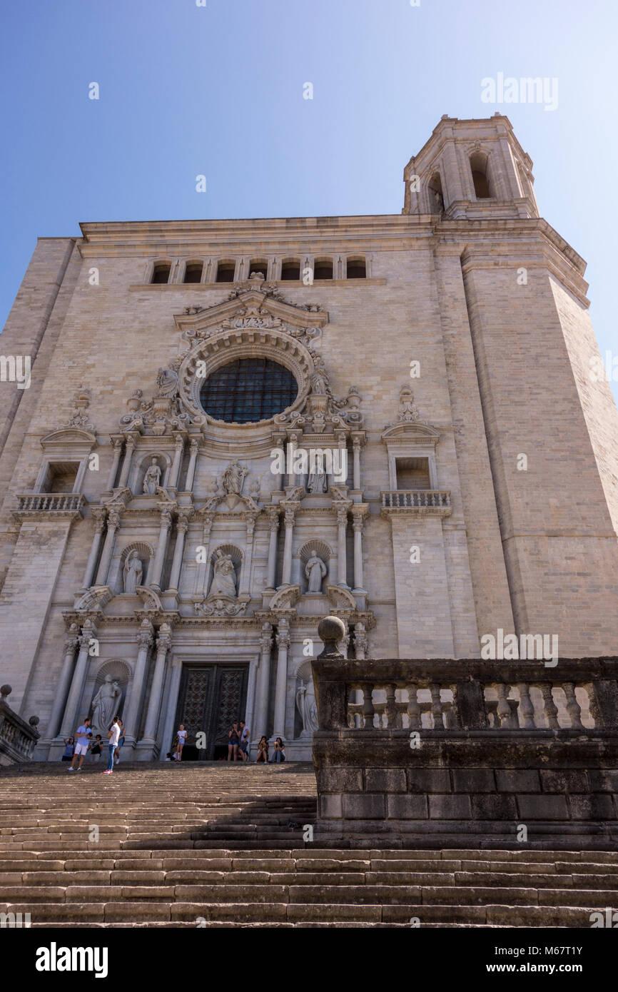 Tourists On The Steps Leading To La Catedral De Girona Girona Stock