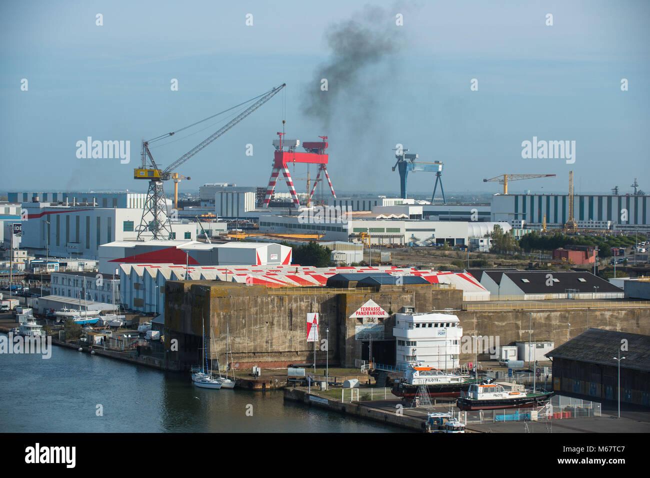 Saint Nazaire, shipyard, France. - Stock Image