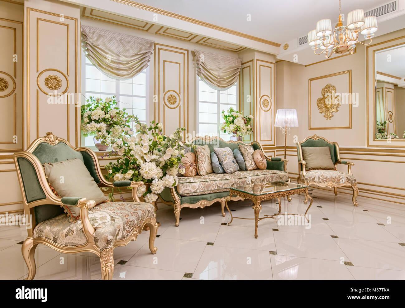 Luxury Classic Living Room Interior Stock Photo Alamy