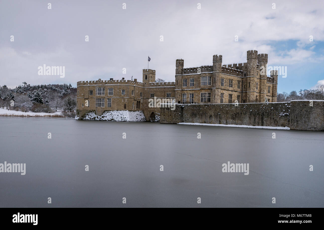 Winter scenes at Leeds Castle, Kent, UK as 'the beast from the east' snow storm hits the weald - Stock Image