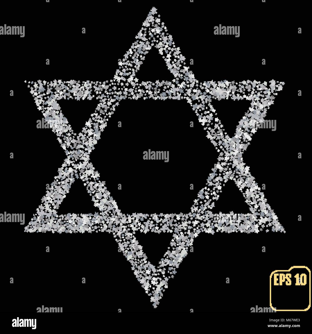 Silver Star of David. Silver stars confetti concept. Vector - Stock Vector