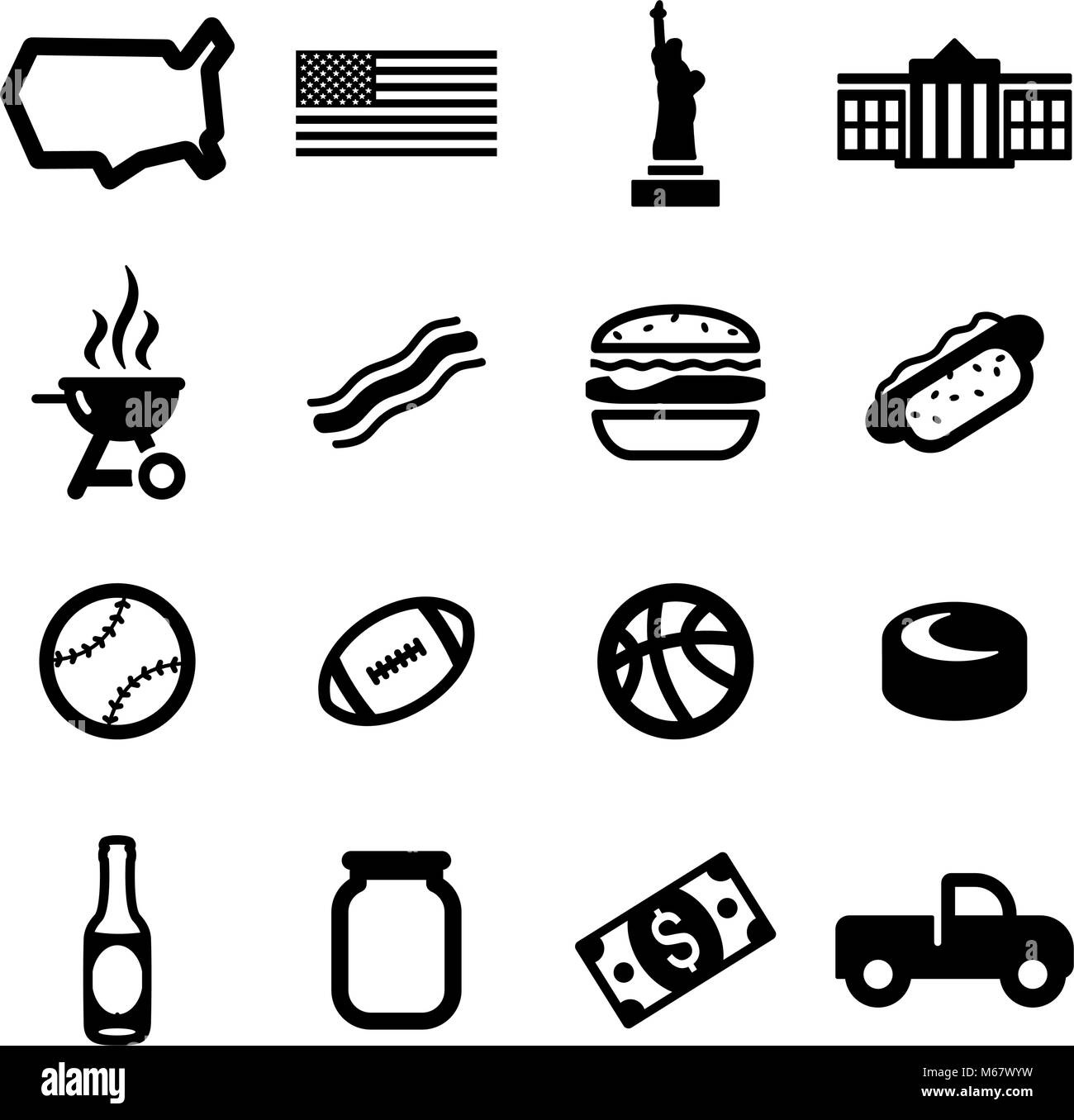 USA Icons - Stock Image