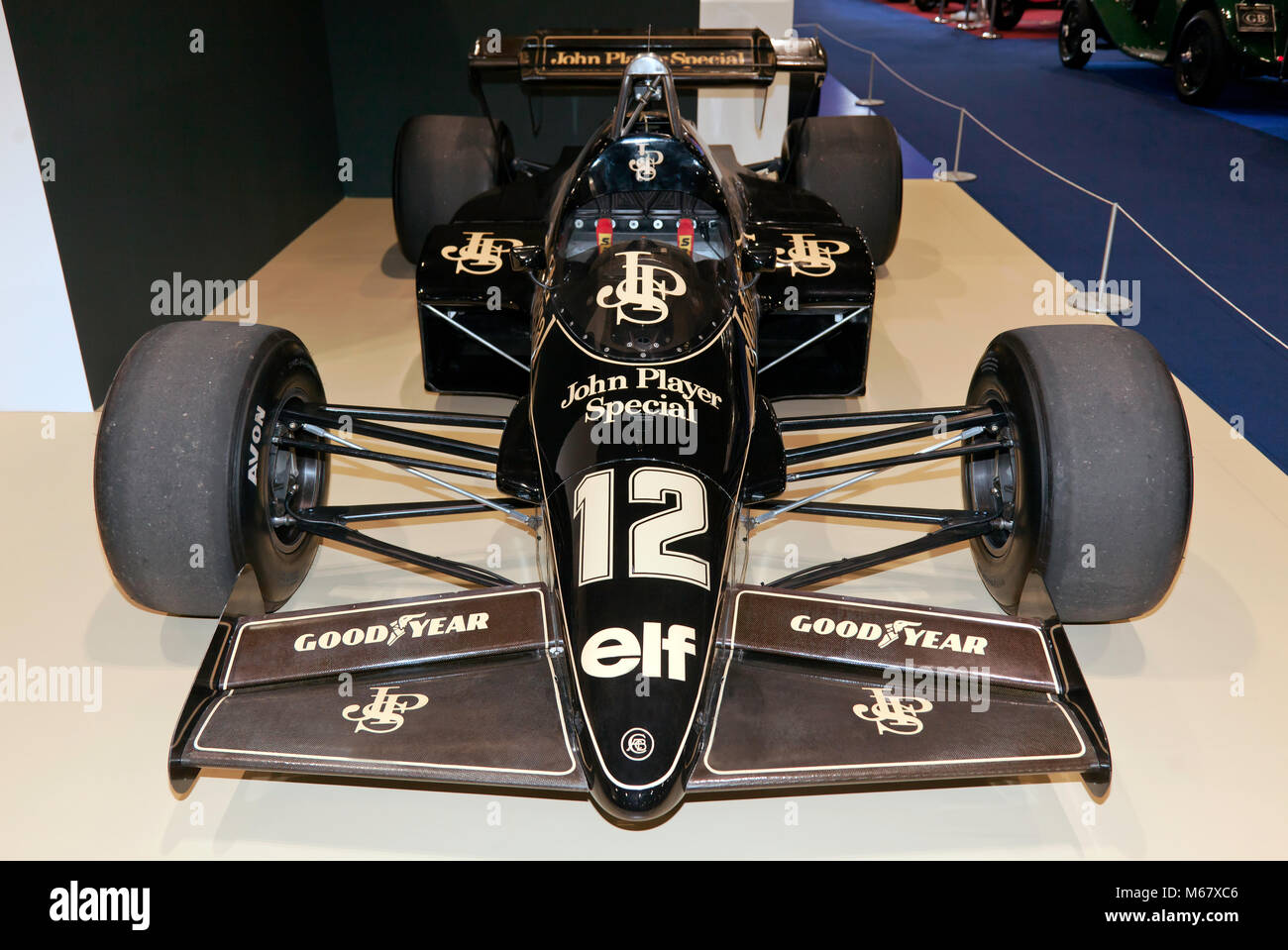 Front view of Nigel Mansell's 1984 Lotus 95T Formula One Race Car on display at the 2018  London Classic Car - Stock Image