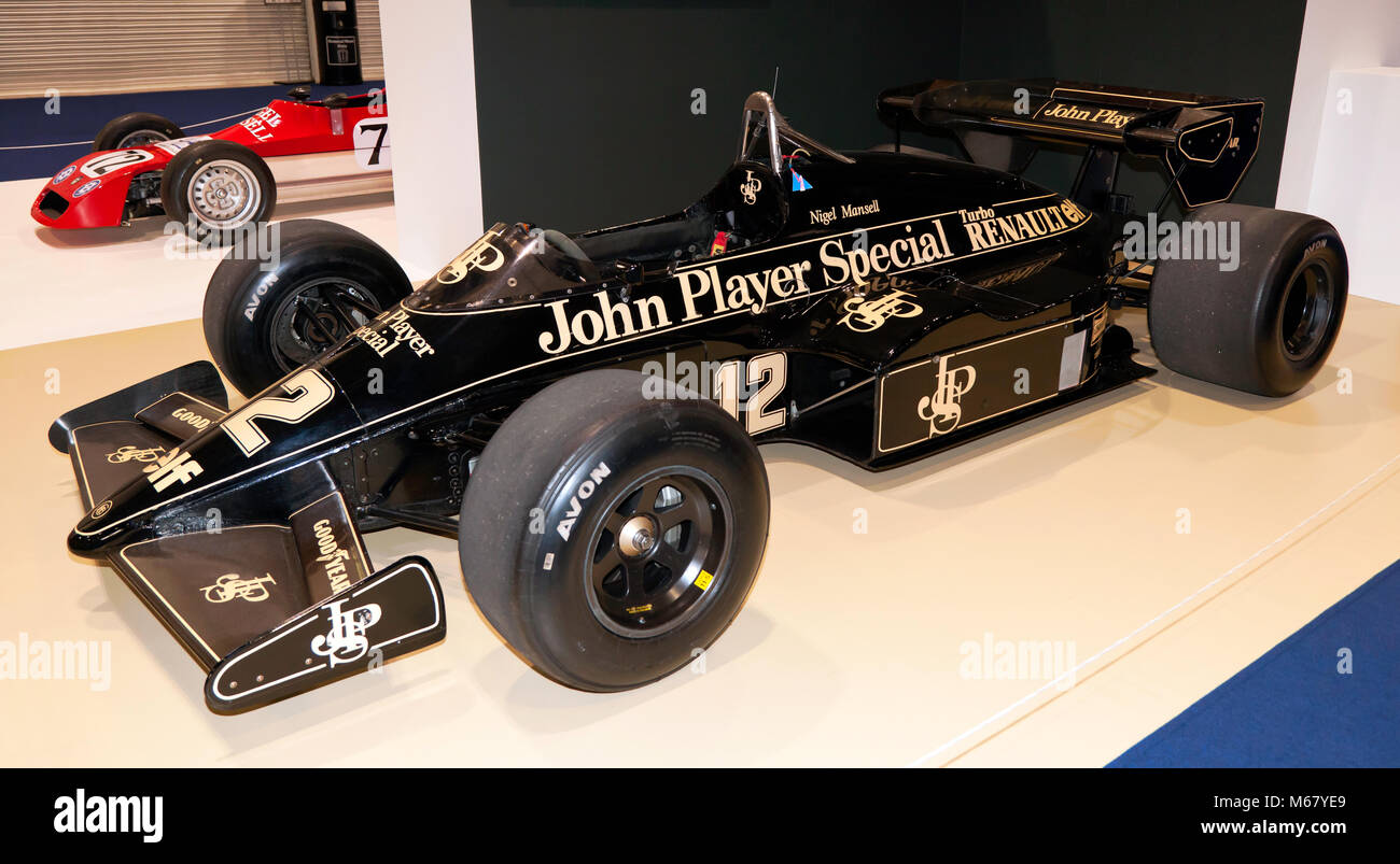 Three-quarter side view of Nigel Mansell's 1984 Lotus 95T Formula One Race Car on display at the 2018  London - Stock Image