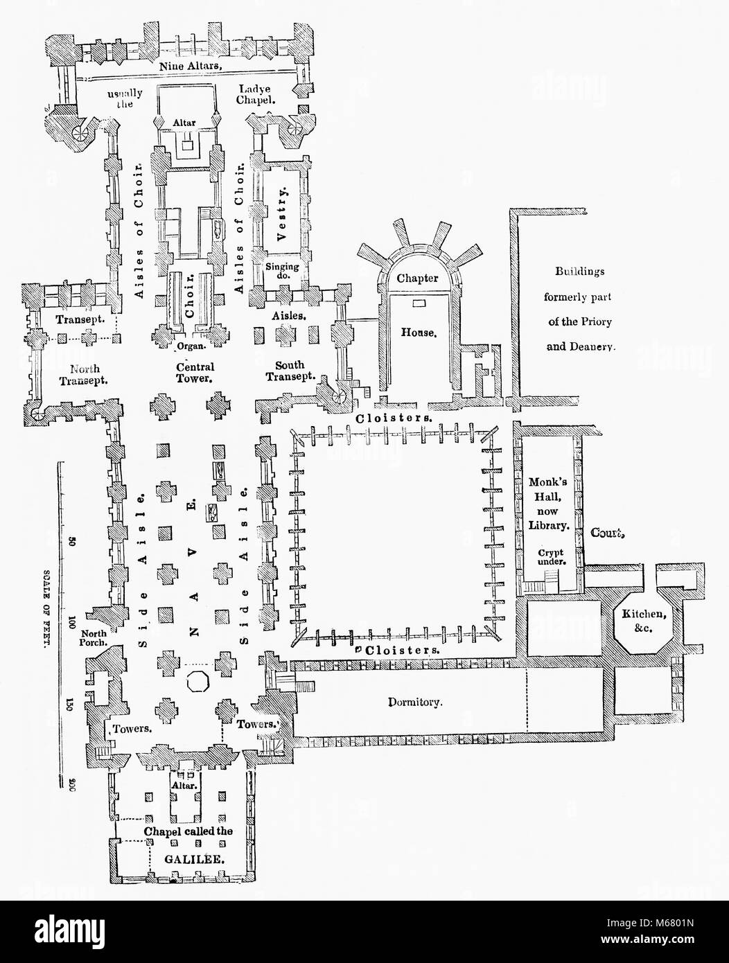 Floor plan of Durham Cathedral, Durham, England.  From Old England: A Pictorial Museum, published 1847. - Stock Image
