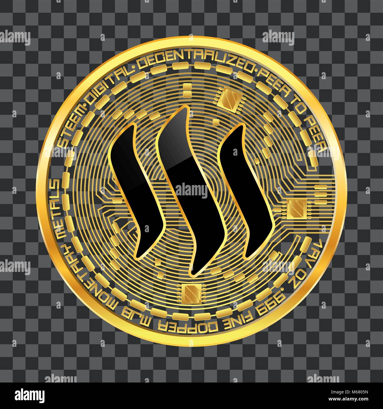 Crypto Currency Golden Coin With Black Lackered Steem Symbol On