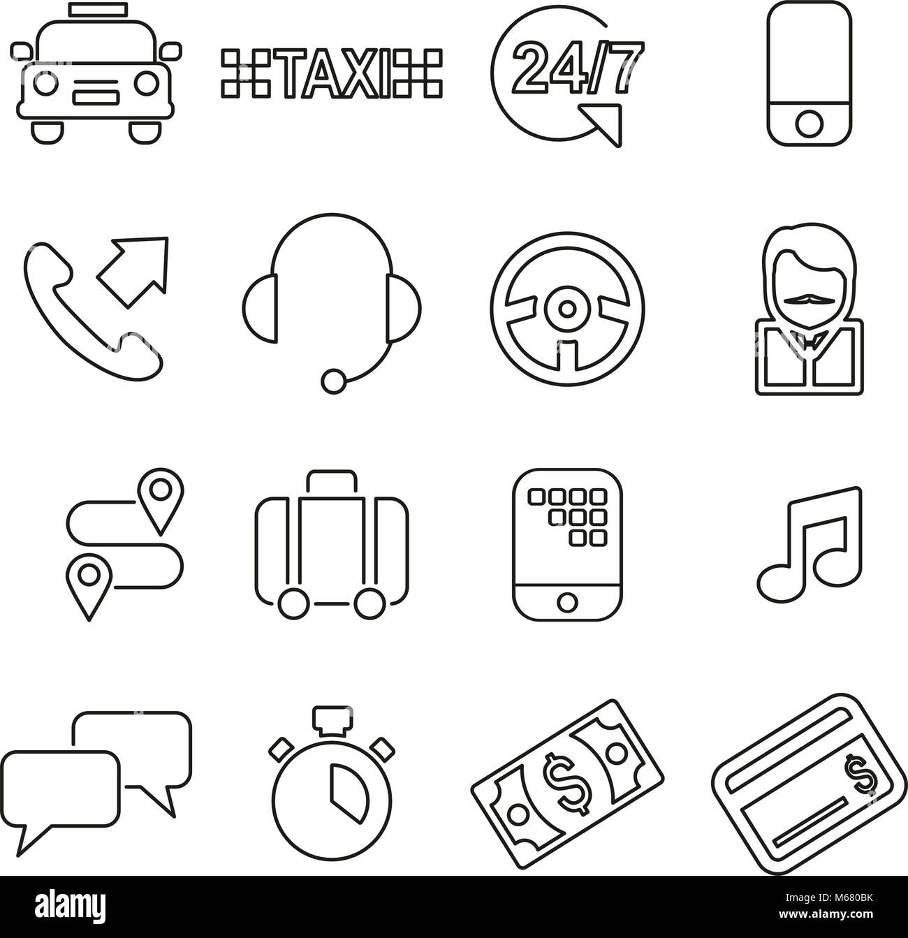 Taxi Service Icons Thin Line Vector Illustration Set Stock Vector