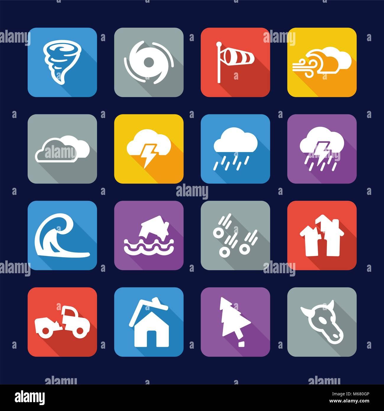 Tornado Icons Flat Design - Stock Vector
