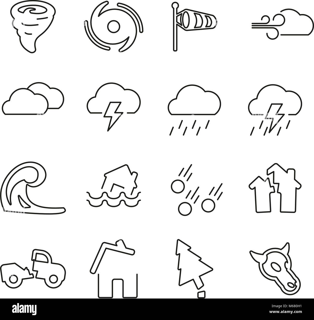 Tornado or Hurricane or Storm Icons Thin Line Vector Illustration Set - Stock Vector