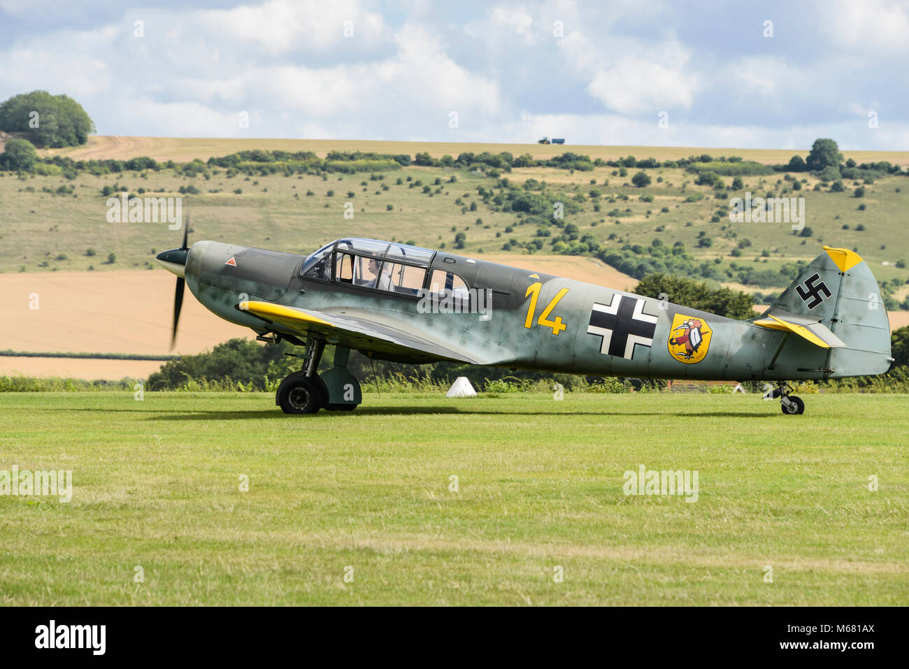 A Messerschmitt Bf 108 taxiing at Old Sarum Airfield Stock Photo