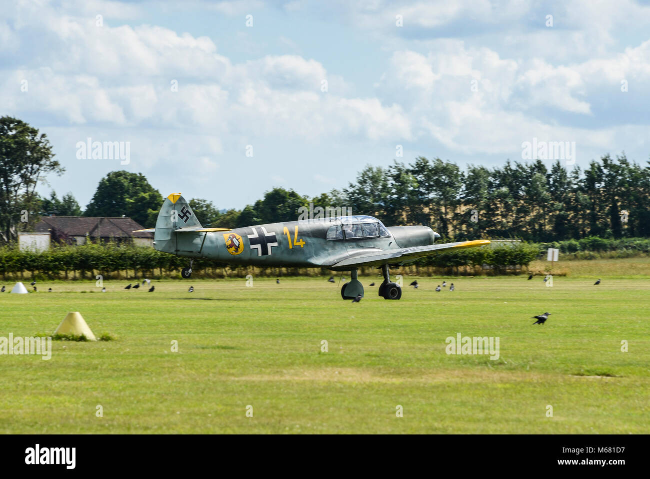 A Messerschmitt Bf 108 taking off at Old Sarum Airfield, Wiltshire, UK Stock Photo