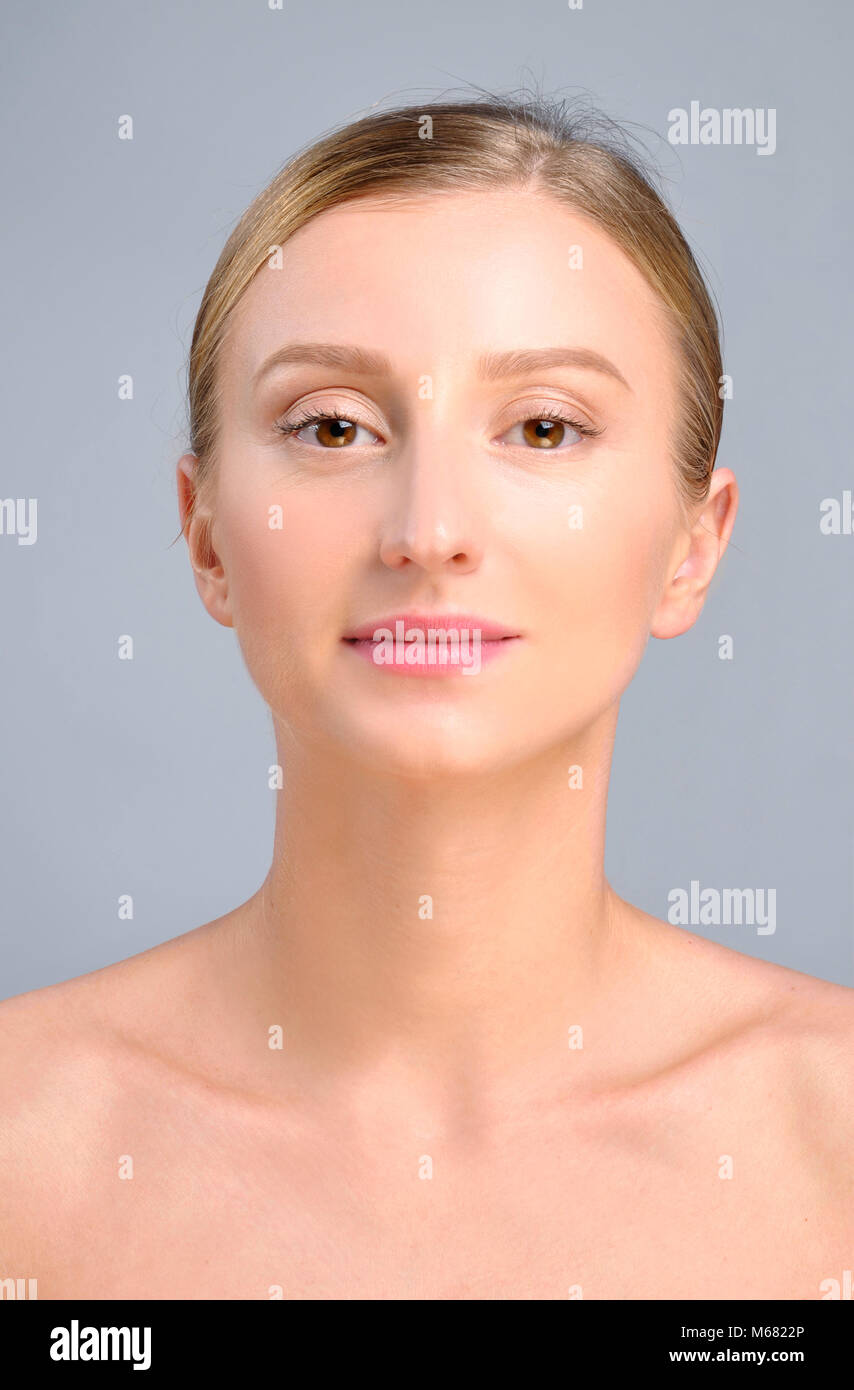 Portrait of female face. Plastic surgery. Anti-aging treatment and face lift. - Stock Image