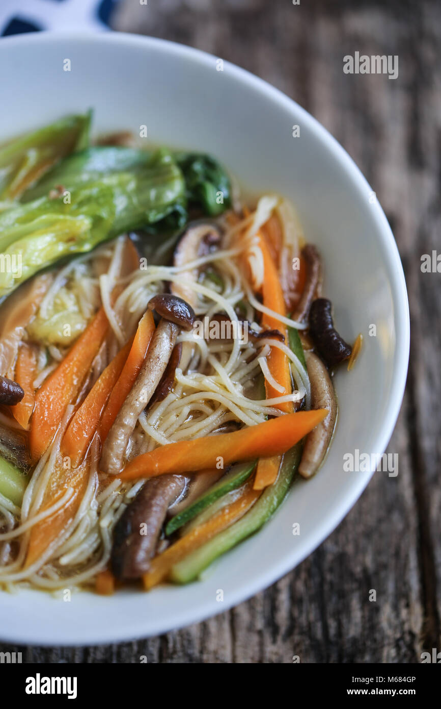 Veggie ramen soup - Stock Image