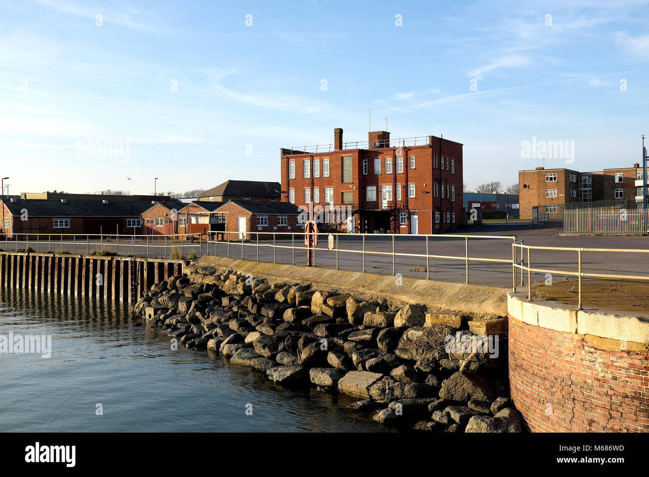 Shoreham Port, West Sussex, England.  Old Port Authority HQ, now occupied by Dudman Aggregates. - Stock Image