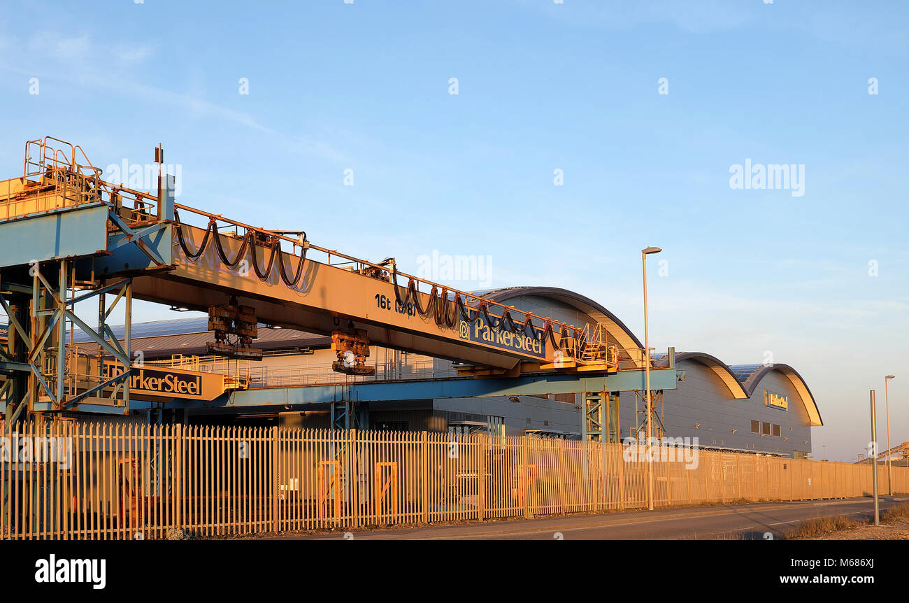 Shoreham Port, West Sussex, England.  Parker Steel Terminal, Basin Road South. Stock Photo