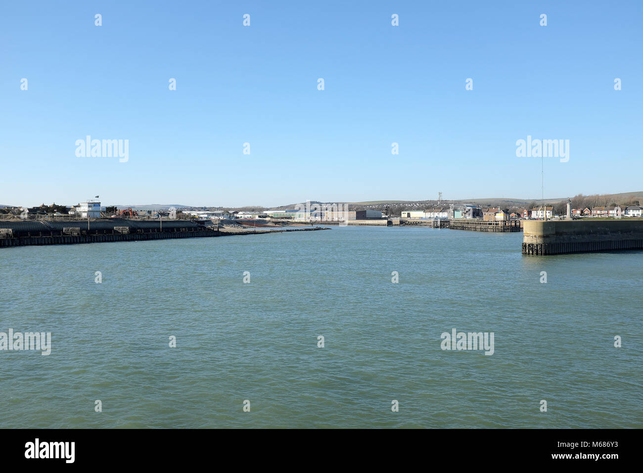 Shoreham Port, West Sussex, England. View into the Western Harbour Arm. Stock Photo