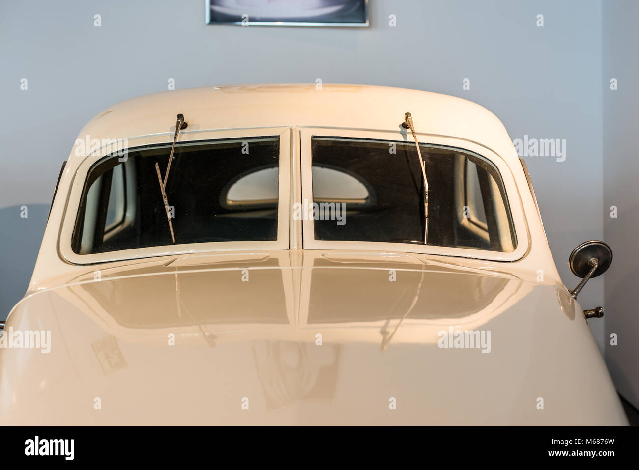 Malaga, Spain - December 7, 2016: Close up view of Cord Westchester 1937 USA car displayed at Malaga Automobile - Stock Image