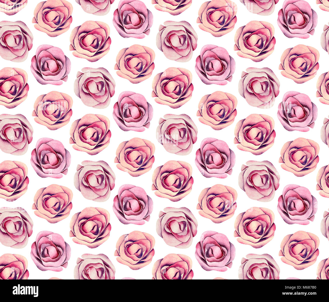 Boho Chic Floral Pattern Watercolor Pink Roses Flowers Background