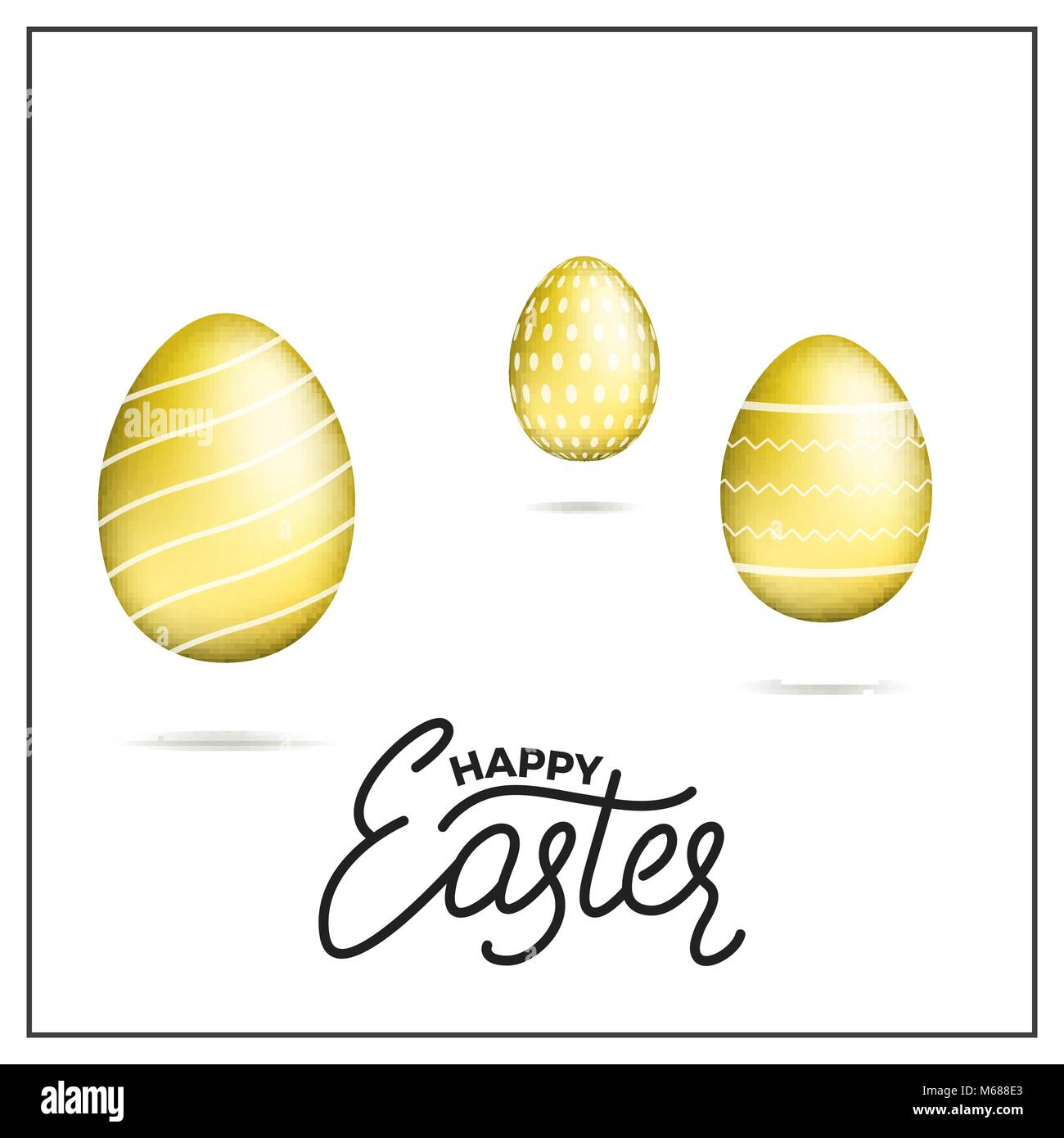 Easter. Gold eggs and Happy Easter script lettering. Easter holiday design - Stock Image