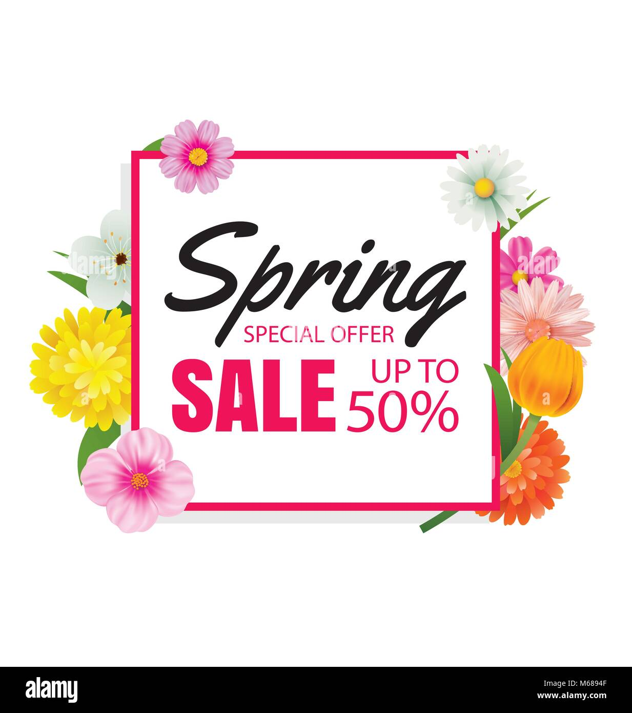 Spring sale banner card template with colorful flower frame Stock ...