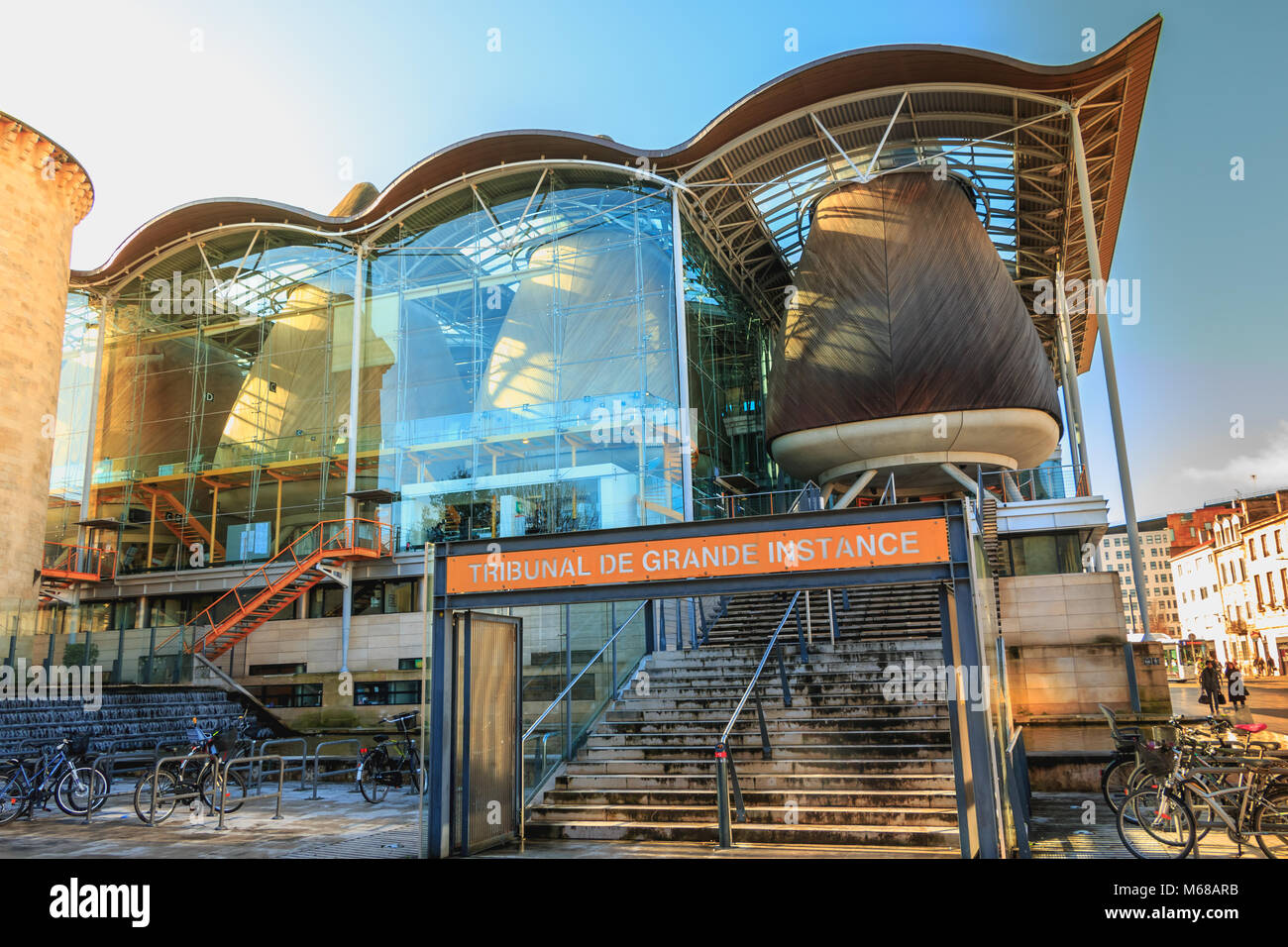 Bordeaux, France - January 26, 2018 : architectural detail of the district court (in french : tribunal de grande - Stock Image