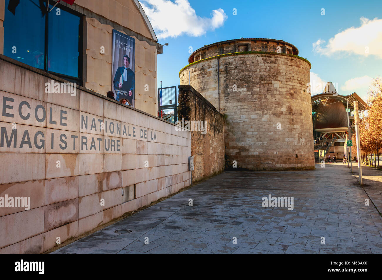 Bordeaux, France - January 26, 2018 : architectural detail of the National School of Magistracy on a winter day - Stock Image