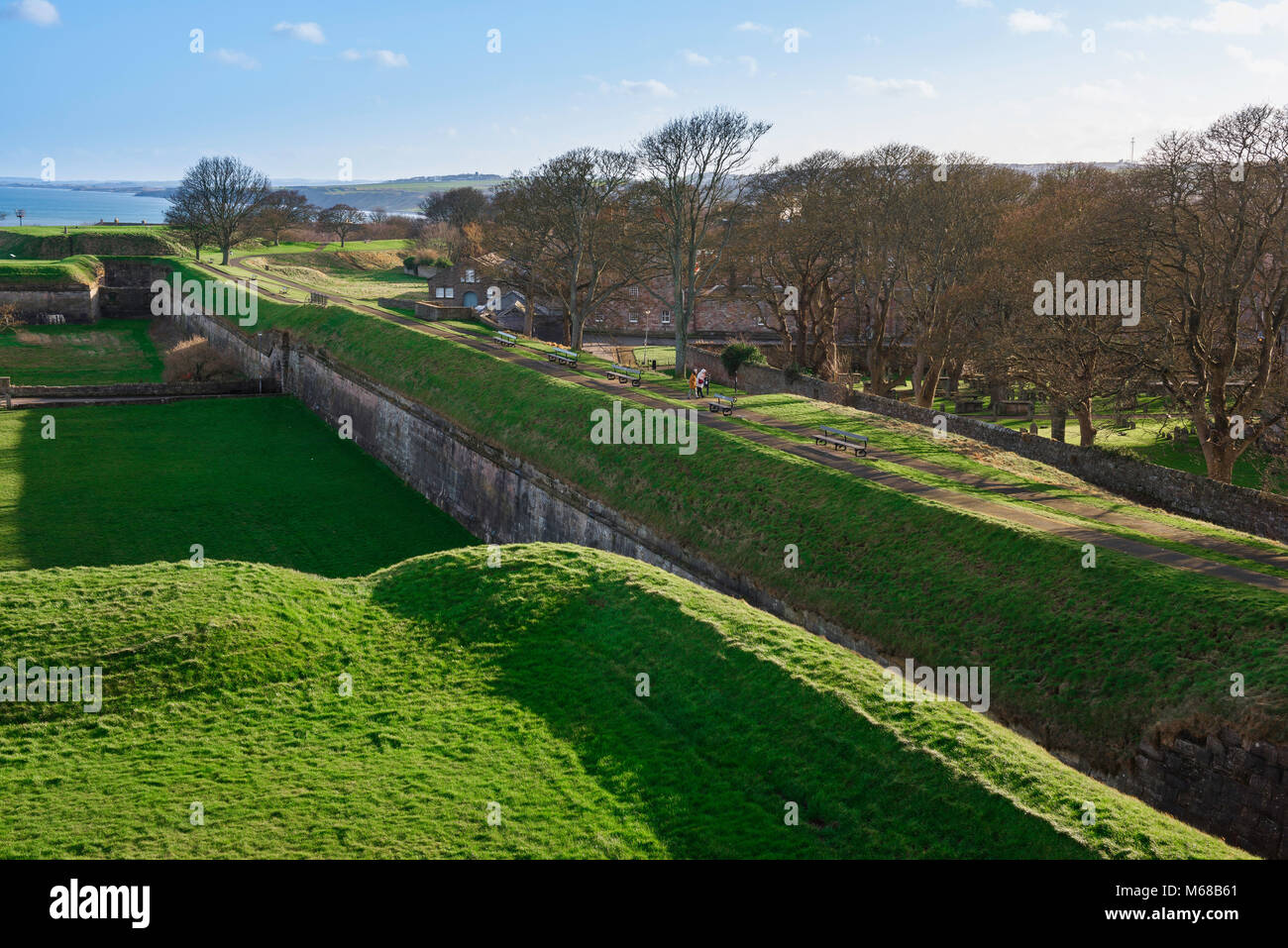 Berwick upon Tweed ramparts, view of the historic defensive ramparts along the south side of Berwick upon Tweed - Stock Image