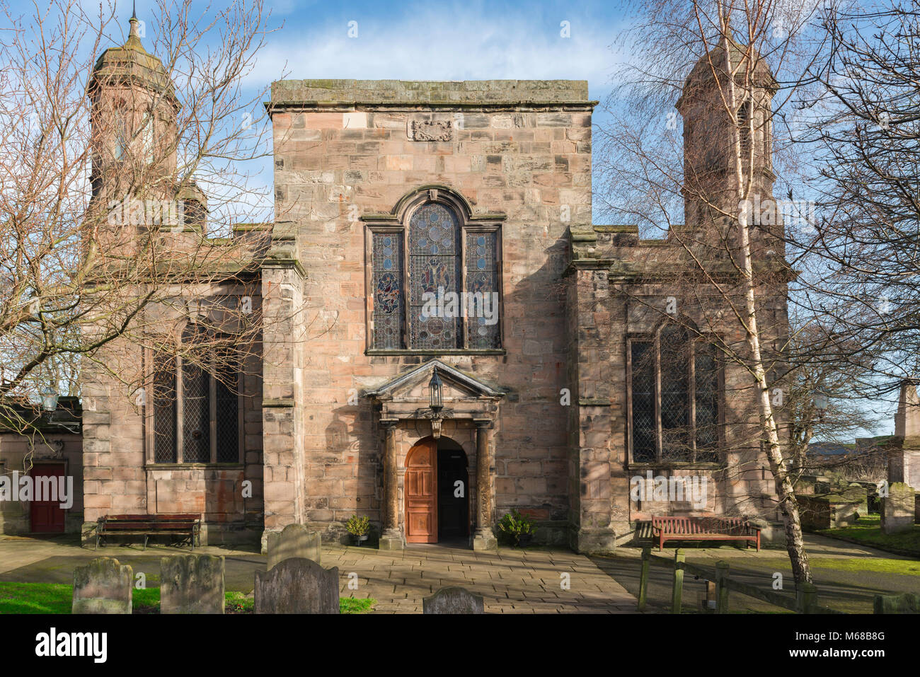 Berwick upon Tweed church,view of the entrance to the Holy Trinity Parish Church in the border town of Berwick upon - Stock Image