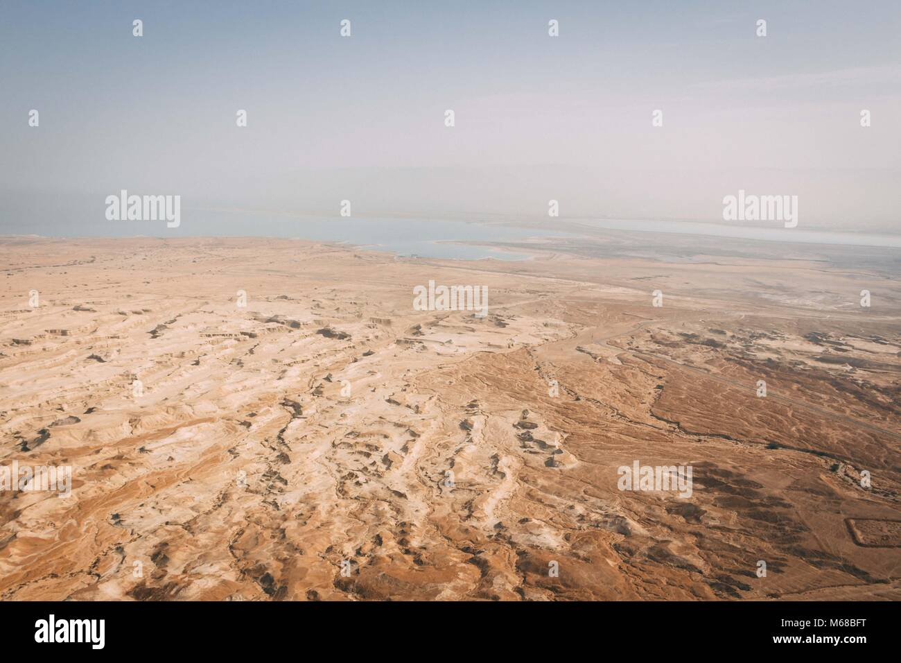 The desert meets the Dead sea Stock Photo