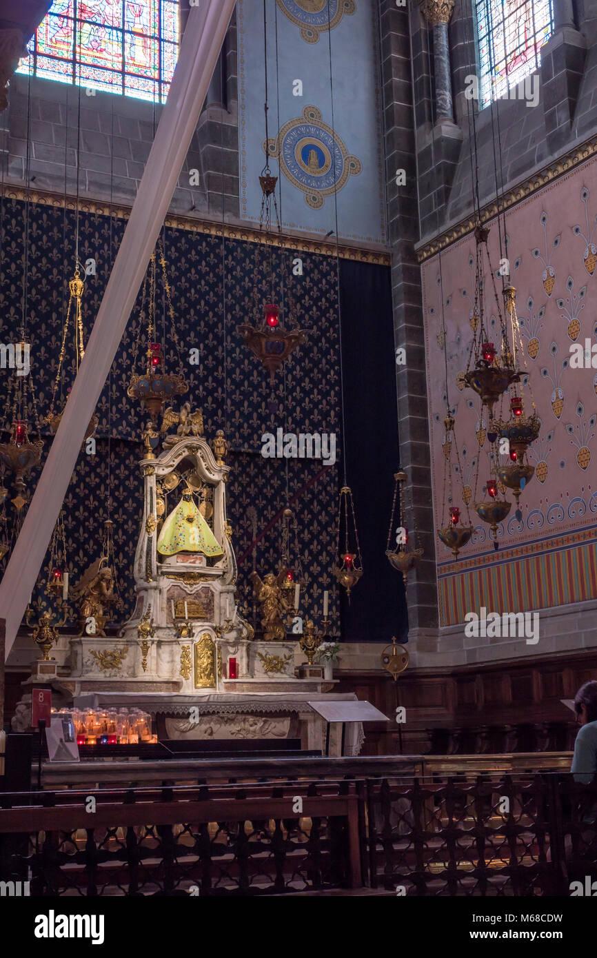 Inside the Notre Dame Cathedral Le Puy en Velay Haute-Loire Auvergne-Rhône-Alpes France - Stock Image