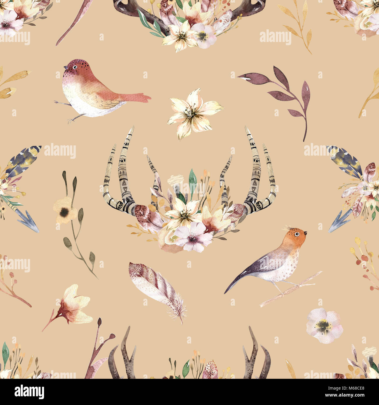 59587e62a Bohemiamn seamless pattern of watercolor floral boho antler print. western  boho decoration. Hand drawn vintage deer horns with flowers, leaves and her