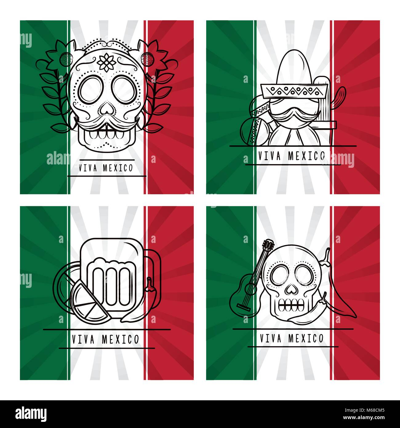 viva mexico traditional card - Stock Image