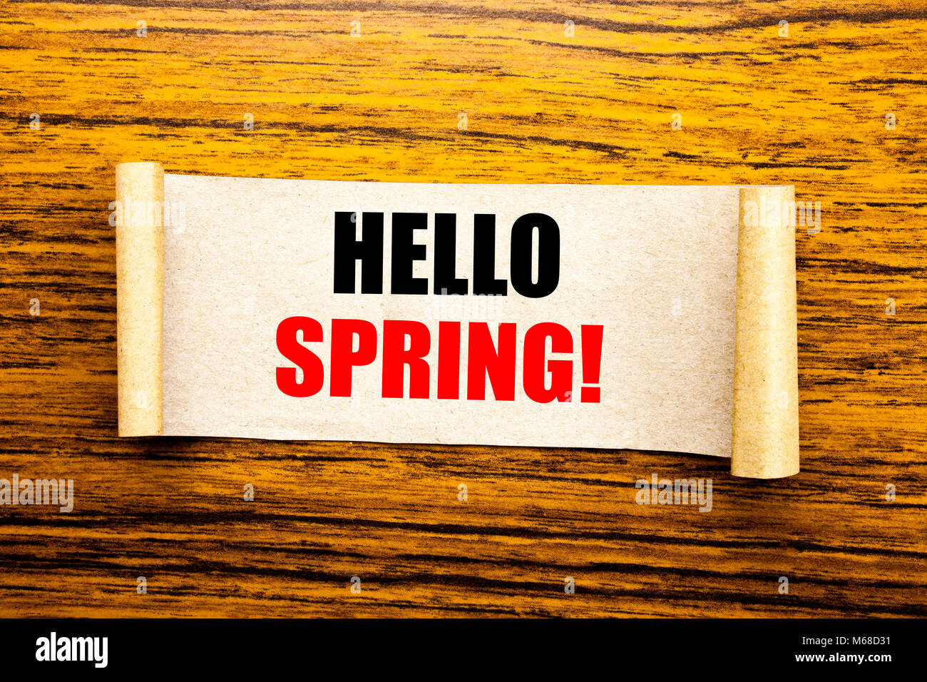 Hand writing text caption inspiration showing Hello Spring!. Business concept for Summer Time Welcoming written - Stock Image