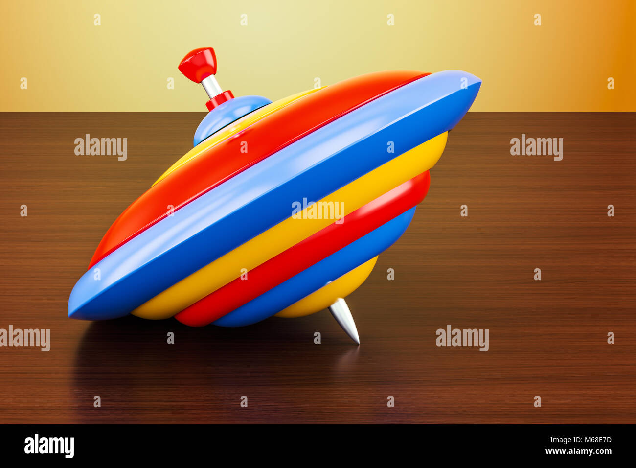 Whirligig top on the wooden table. 3D rendering - Stock Image