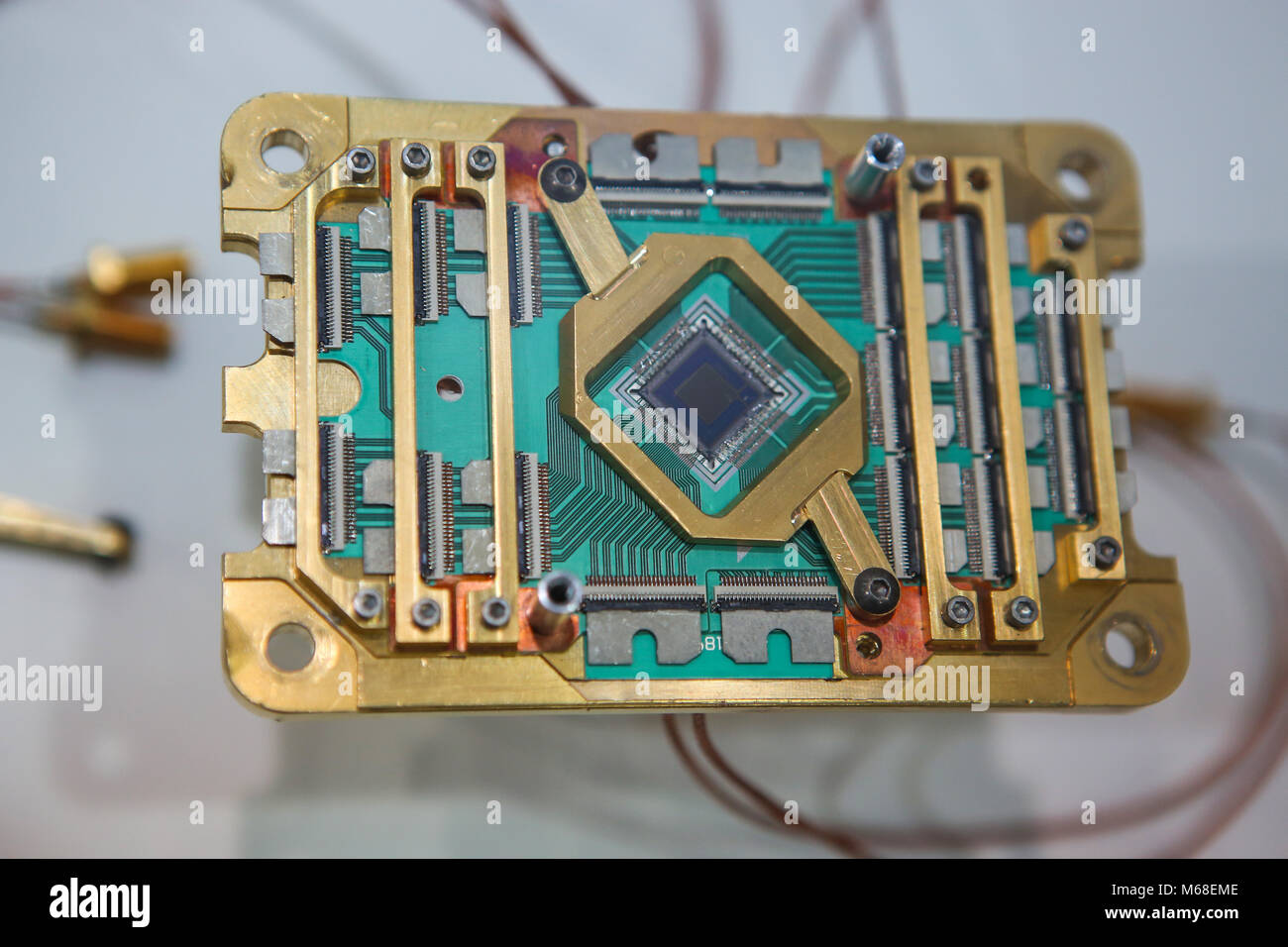 Hanover, Germany. 19th March, 2017. CeBIT 2017, ICT trade fair: D-Wave 2000Q Quantum Computer processor with 2048 - Stock Image