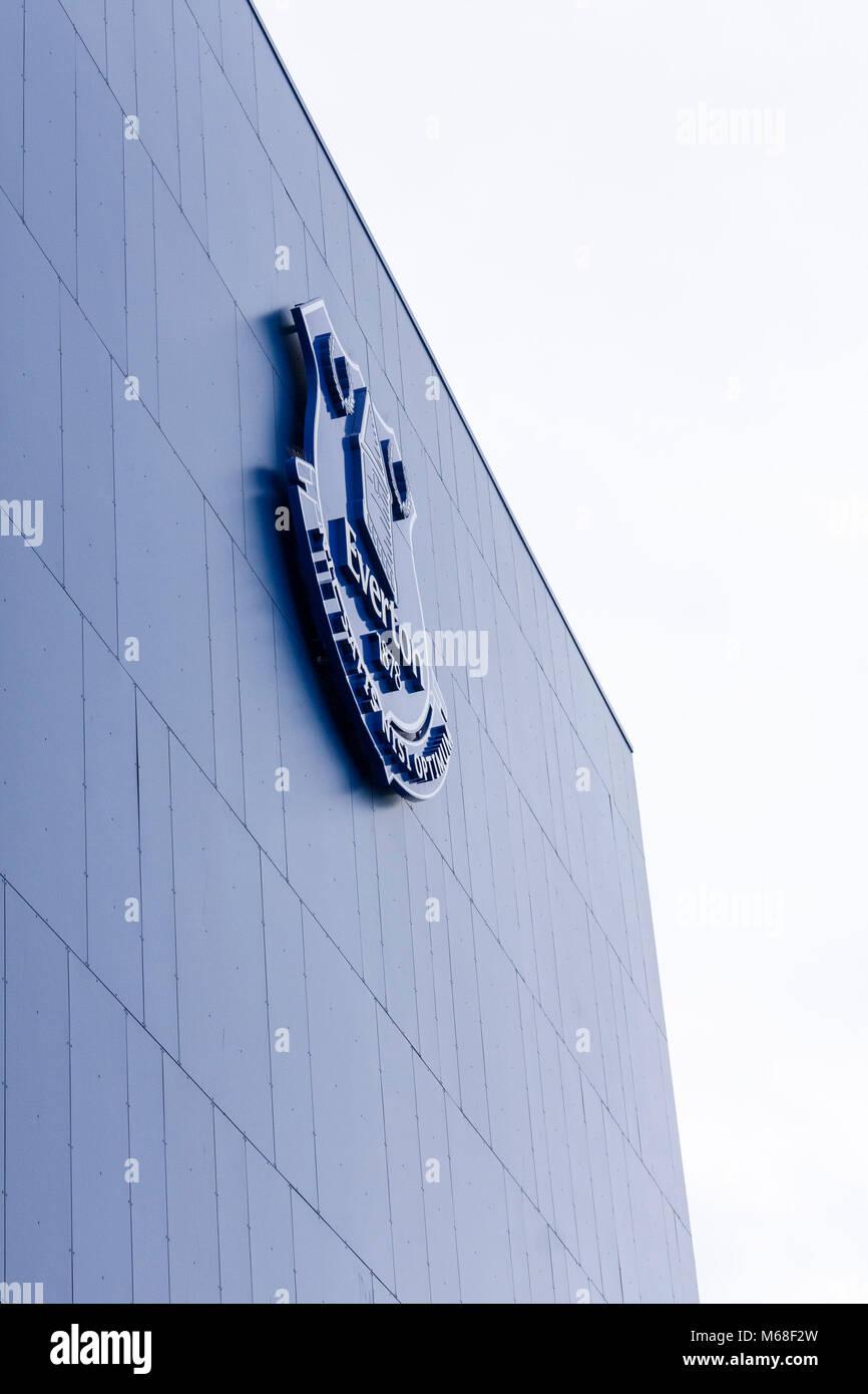 Everton Football Club emblem on outside of Goodison Park football ground. Liverpool, Merseyside. Stock Photo