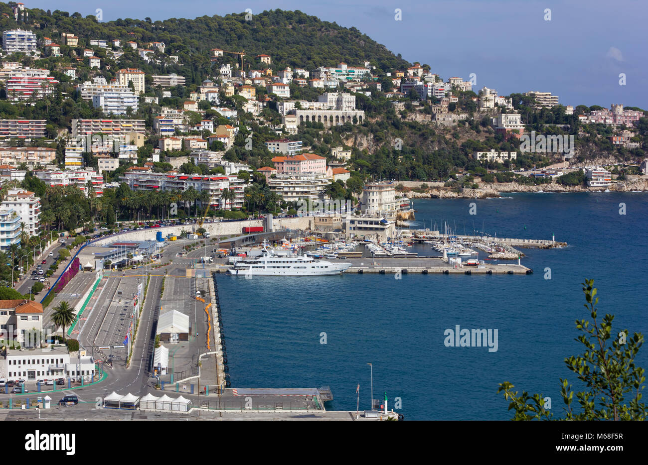 Above view of the port of Nice, France, the big city marina Stock Photo