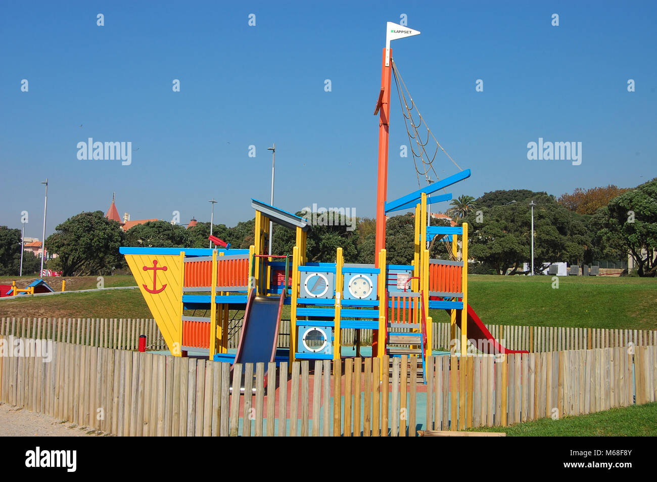 Playground with boat-shaped slides in Foz do Douro near Porto, Portugal. - Stock Image