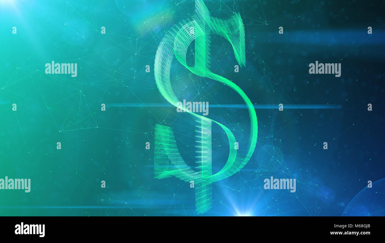 A radiant 3d illustration of a dazzling dollar sign spinning aside in a grand way. It rotates in the center of a - Stock Image
