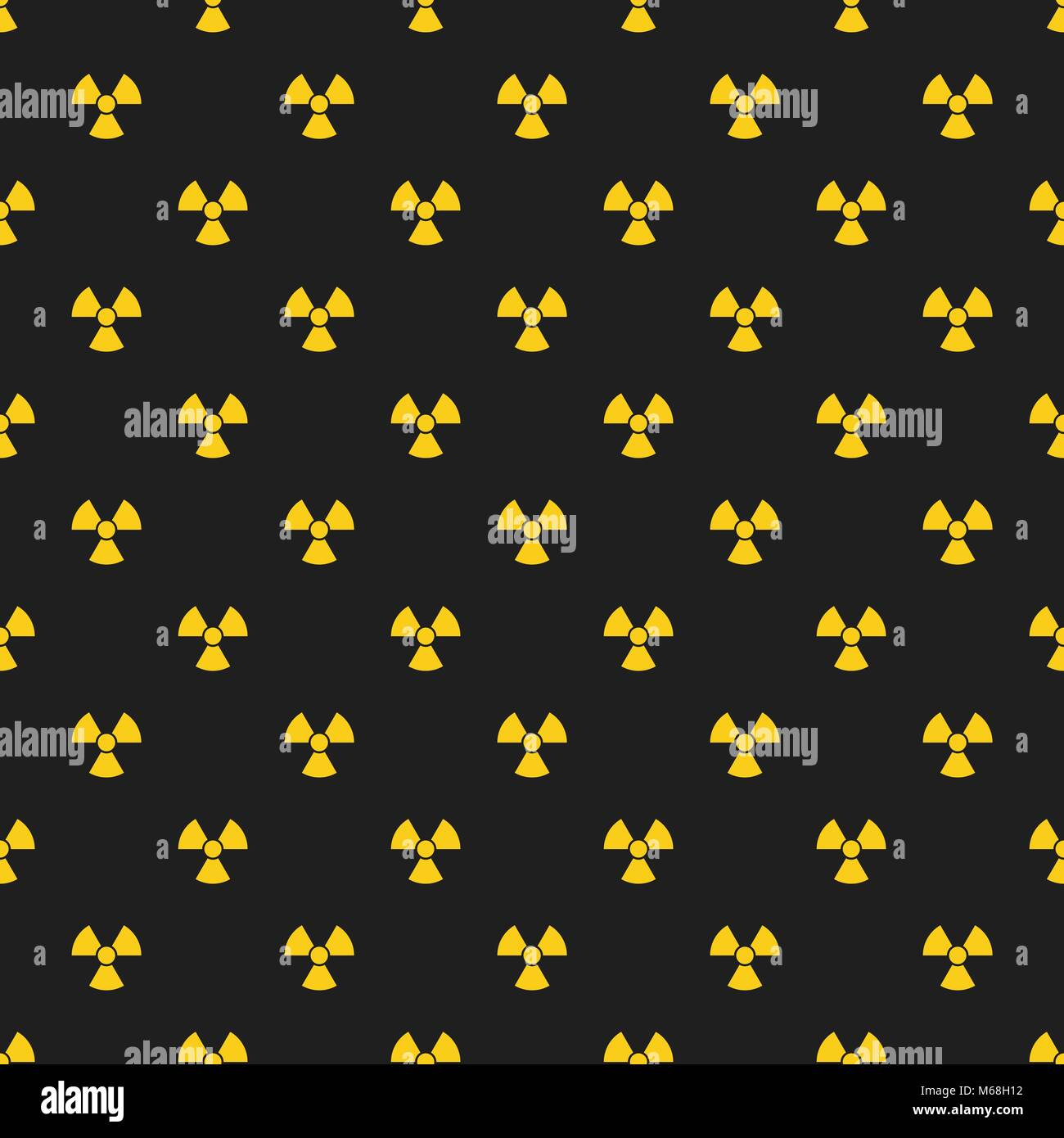 Abstract pattern. Yellow marks of radiation on a black background. Irradiation. Dangerous area. Vector illustration - Stock Image
