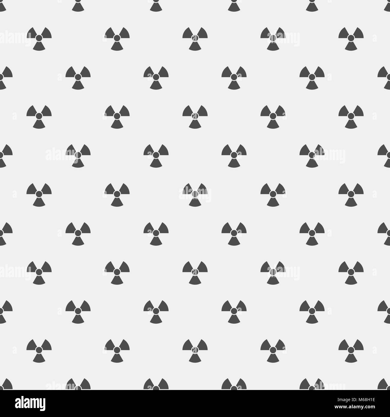Abstract pattern. Black radiation signs on a white background. Irradiation. Dangerous area. Vector illustration - Stock Image