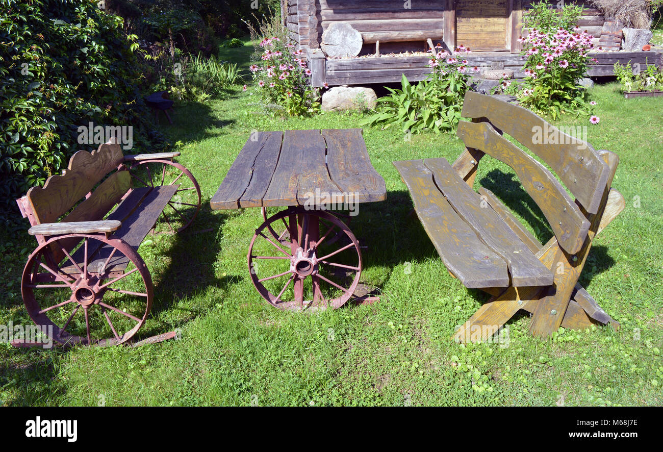 Cool Wooden Decorative Handmade Bench And Table In Farm Village Evergreenethics Interior Chair Design Evergreenethicsorg