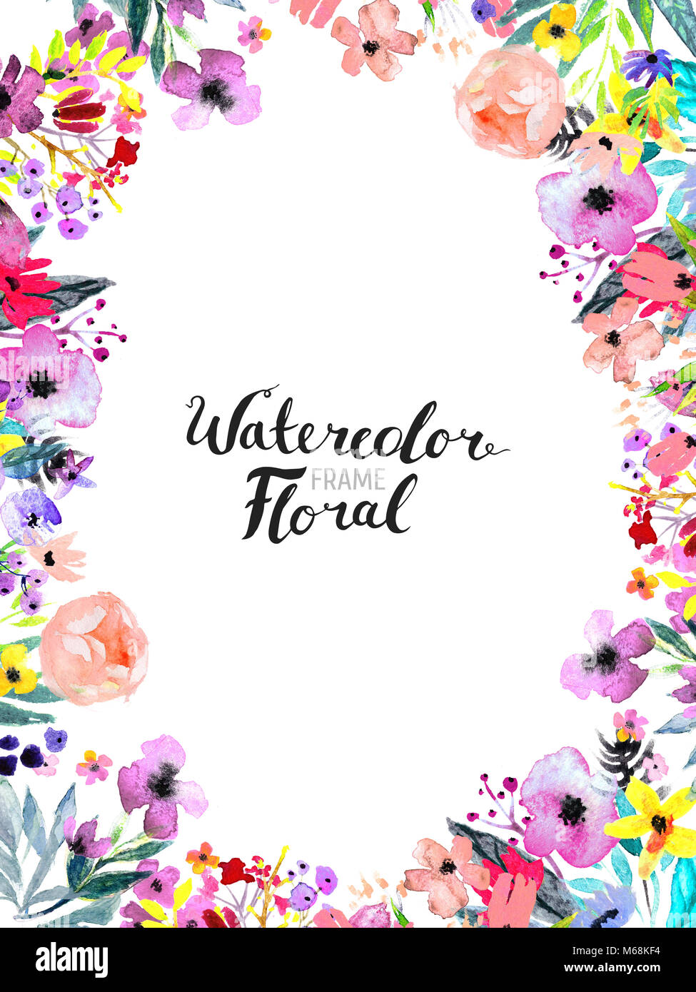 Watercolor Floral Background Hand Painted Border Of Flowers Frame Isolated On White And Brush Lettering Rose Poppy Peony Illustration Spring B